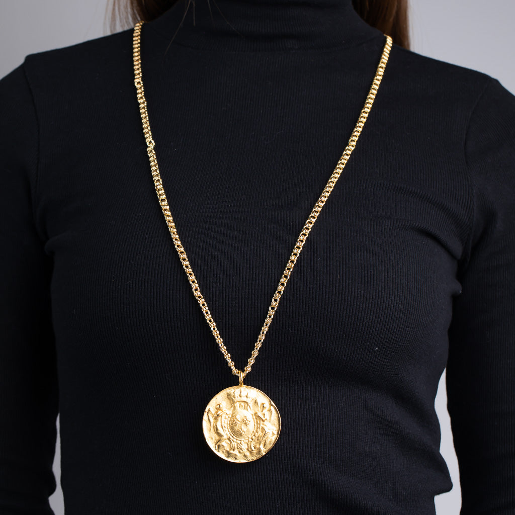Satin Gold Medallion Pendant Necklace