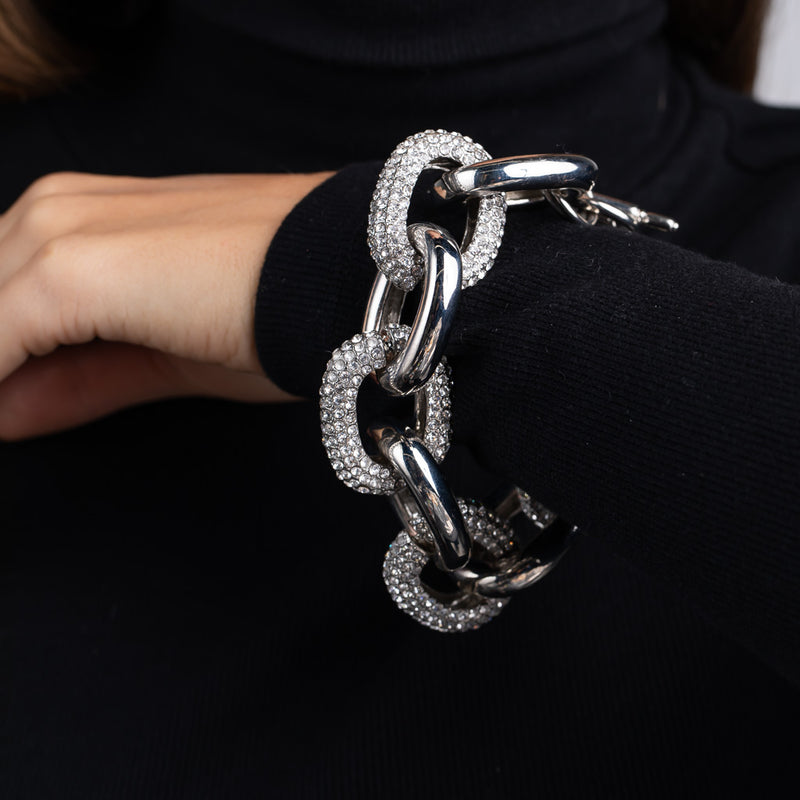 Silver and Crystal Link Toggle Bracelet
