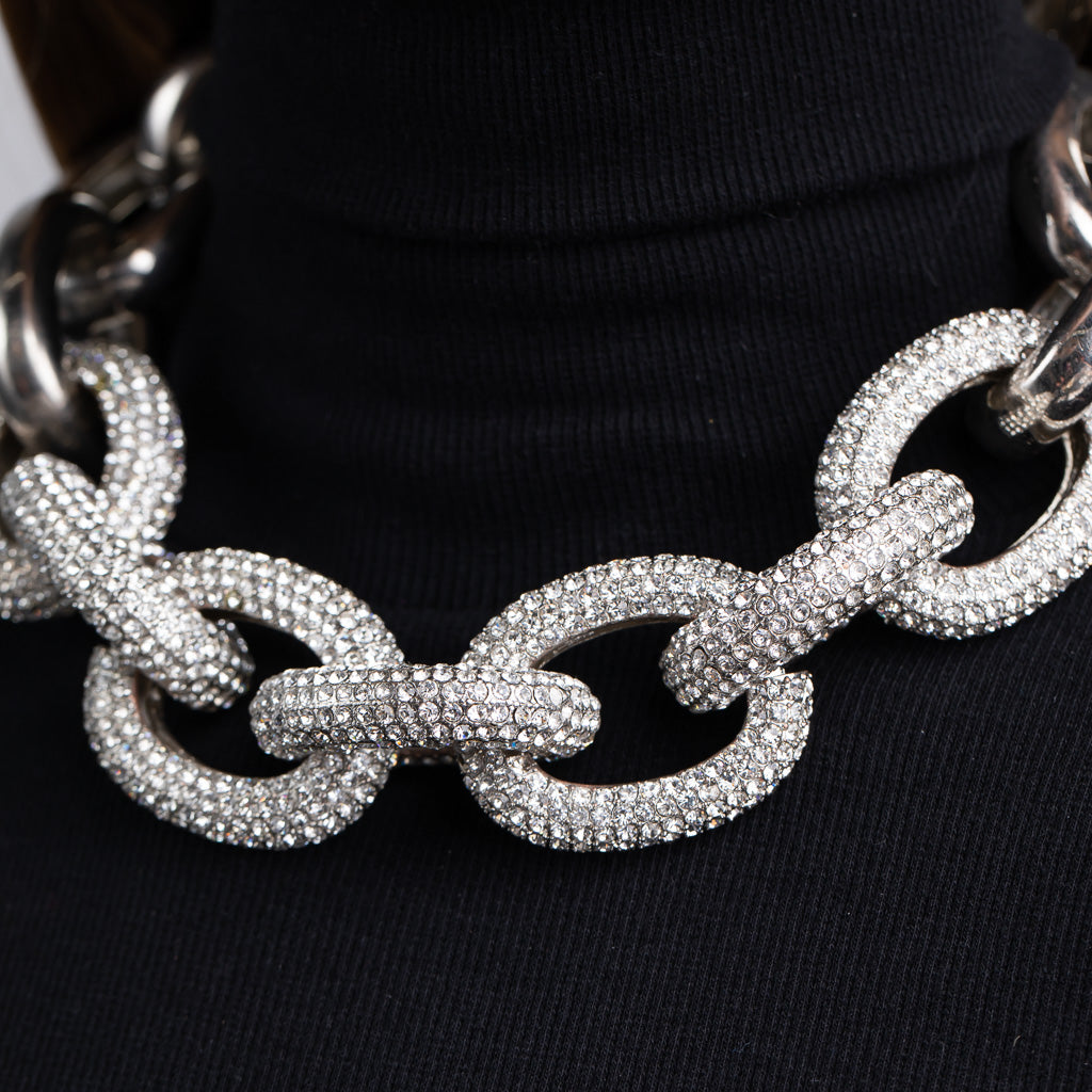 Silver Chain Link Necklace with Pave Crystal Links