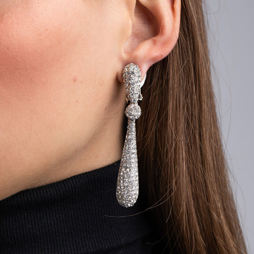 Crystal Ball and Bat Drop Clip Earrings