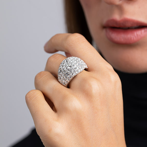 Silver and Crystal Pave Domed Ring