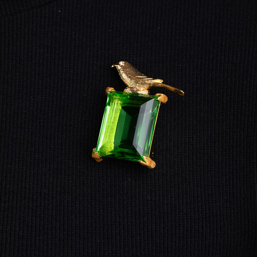Bird Pin with Peridot Center Stone