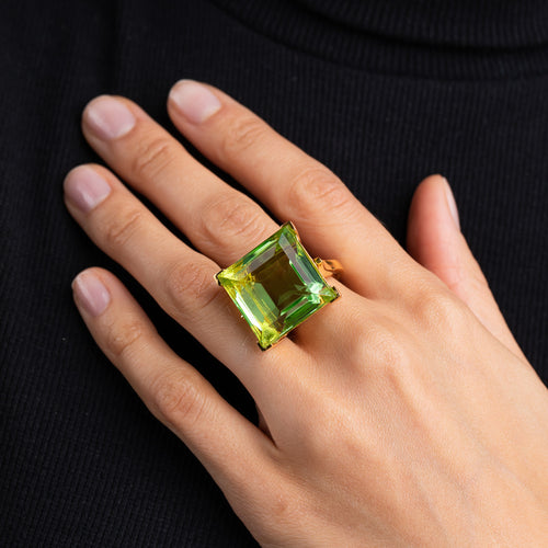 Polished Gold and Peridot Square Center Stone Ring