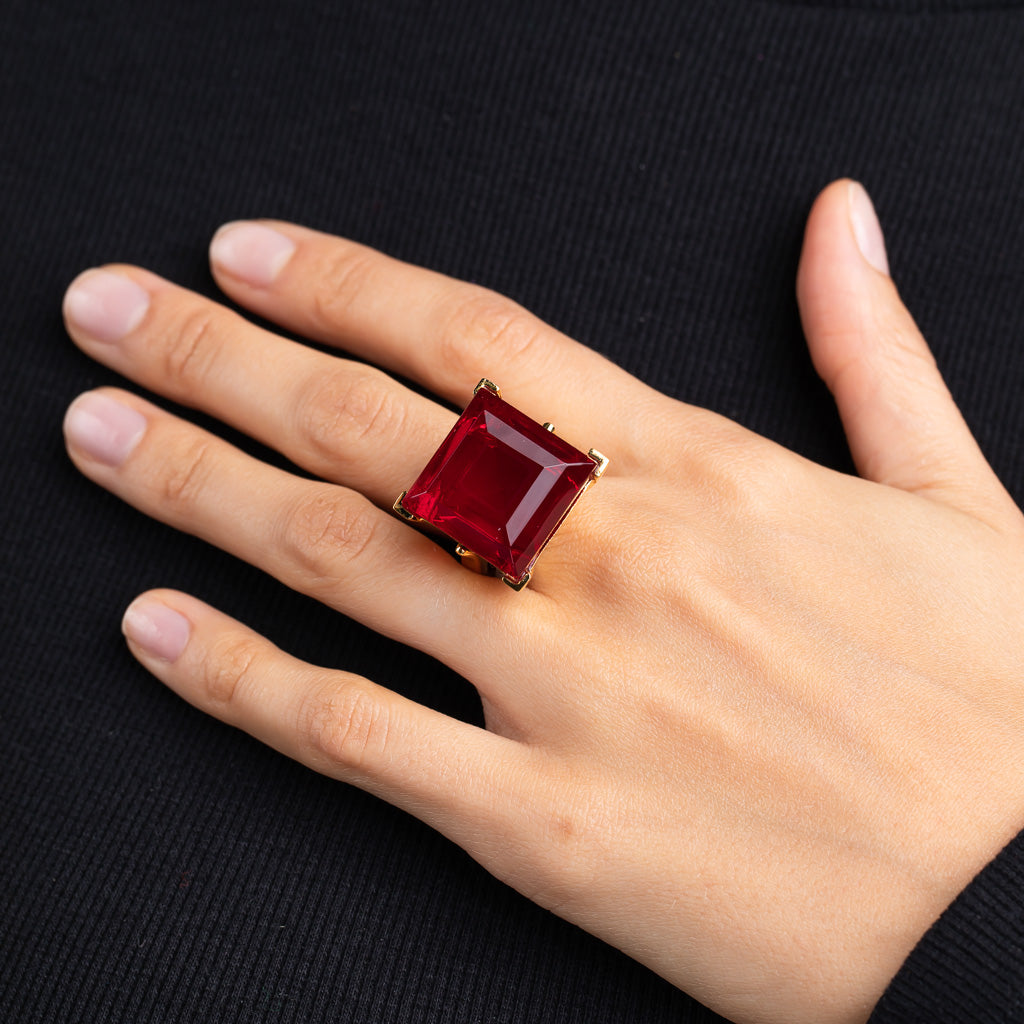 Vogue Paris/August 2019 - Polished Gold and Ruby Square Center Stone Ring