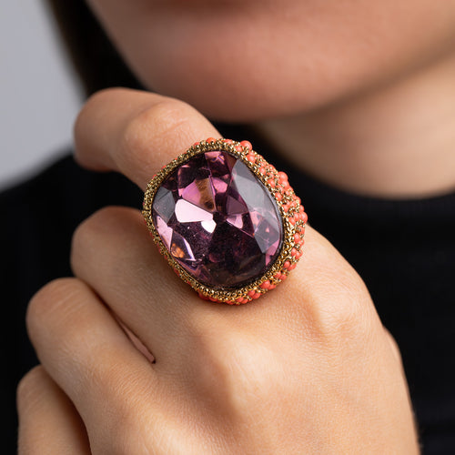 Antique Gold and Coral with Amethyst Center Ring