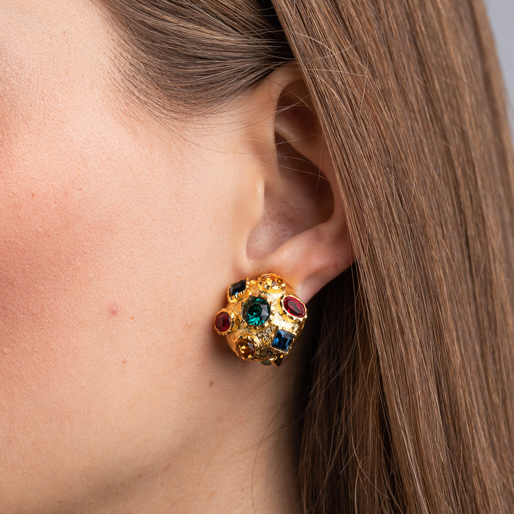 Small Gold with Multi Gem Clip Earrings
