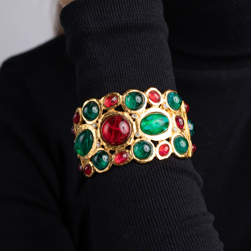 Flawed Emerald and Ruby Cuff