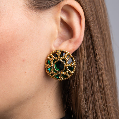 Antique Gold and Emerald Button Clip Earrings