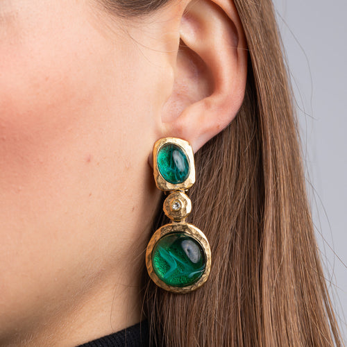 Flawed Emerald Cabochon Drop Clip Earrings