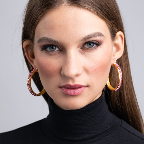 Vogue Netherland/July 2019 - Polished Gold with Rose Square Hoop Pierced Earrings