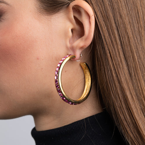 Polished Gold with Rose Square Hoop Pierced Earrings