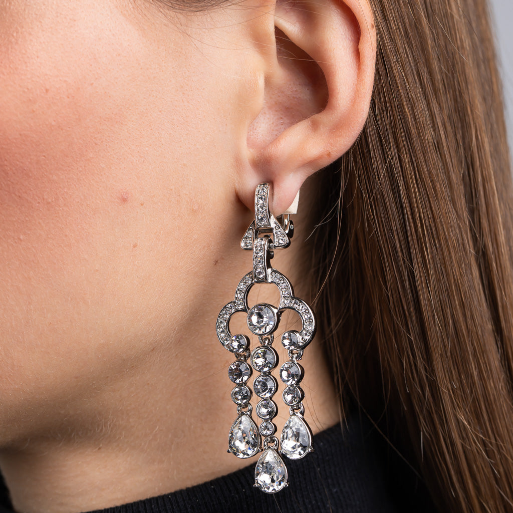 Elizabeth Hurley in Silver 3 Row Drop Clip Earrings with Crystal Stones