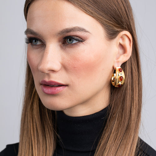 Grazia The Netherlands/August 2019 - Satin Gold and Tortoise Cabochon Oval Hoop Pierced Earrings