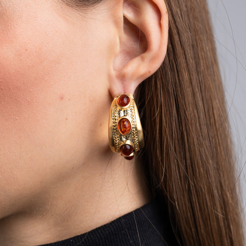 Satin Gold and Tortoise Cabochon Oval Hoop Pierced Earrings