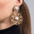 Antique Gold and Crystal Filigree Flower with White Pearl Center Clip Earrings