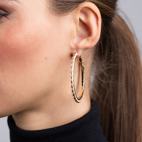 Gold with White Leather Pierced Hoop Earrings