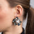 Rhodium and Pearl Clip Button Earrings