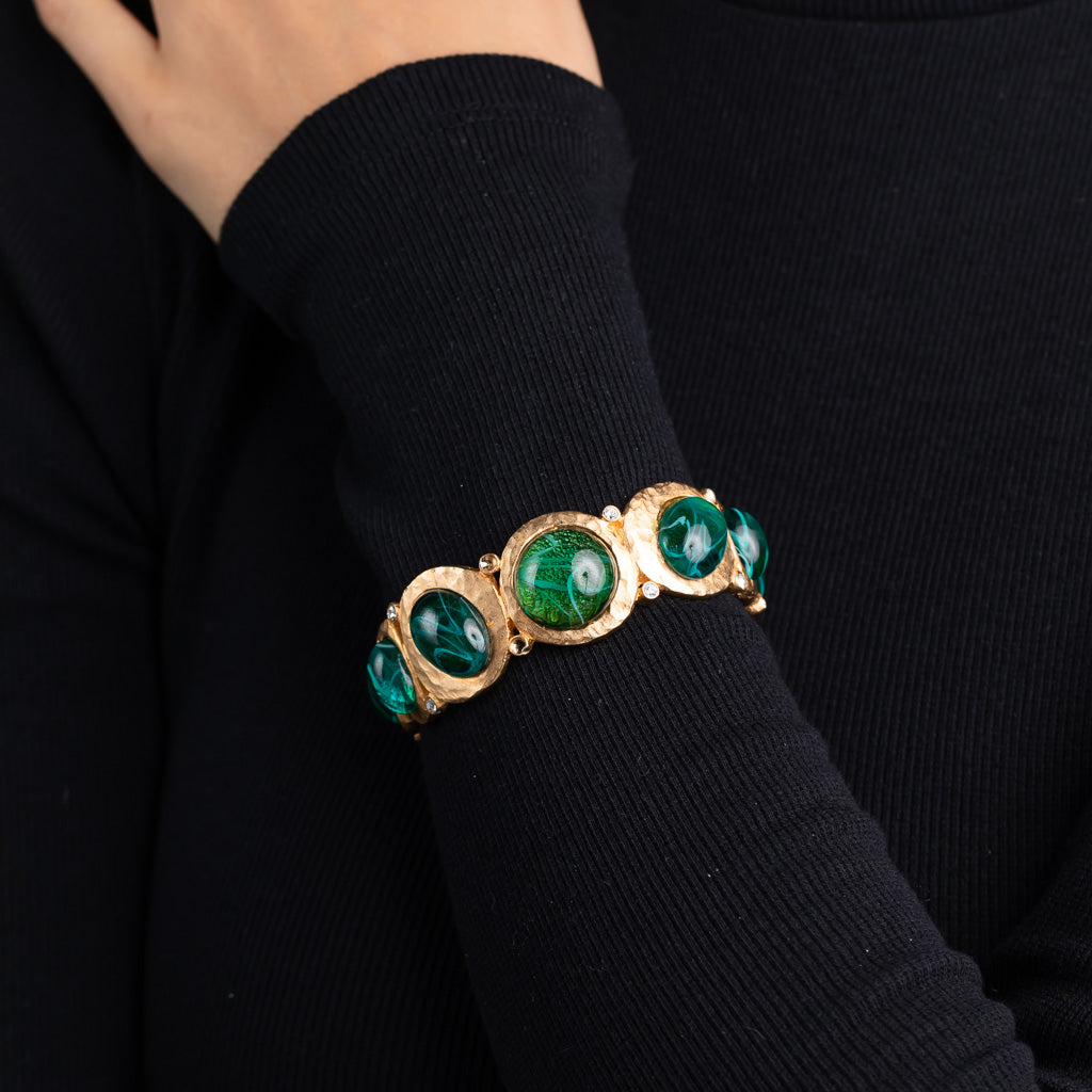 Flawed Emerald Cabochon Hinged Bangle