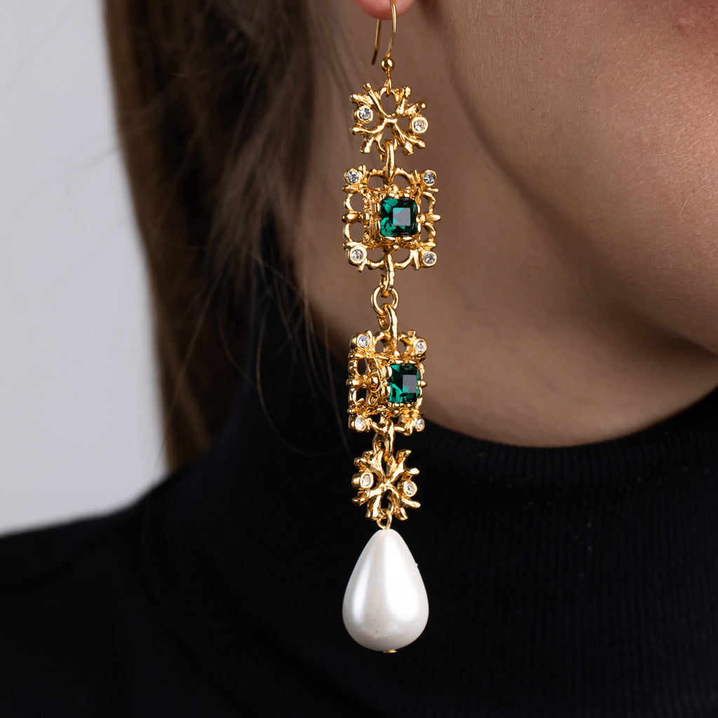 Antique Gold Crystal Emerald and White Pearl Fish Hook Pierced Earrings
