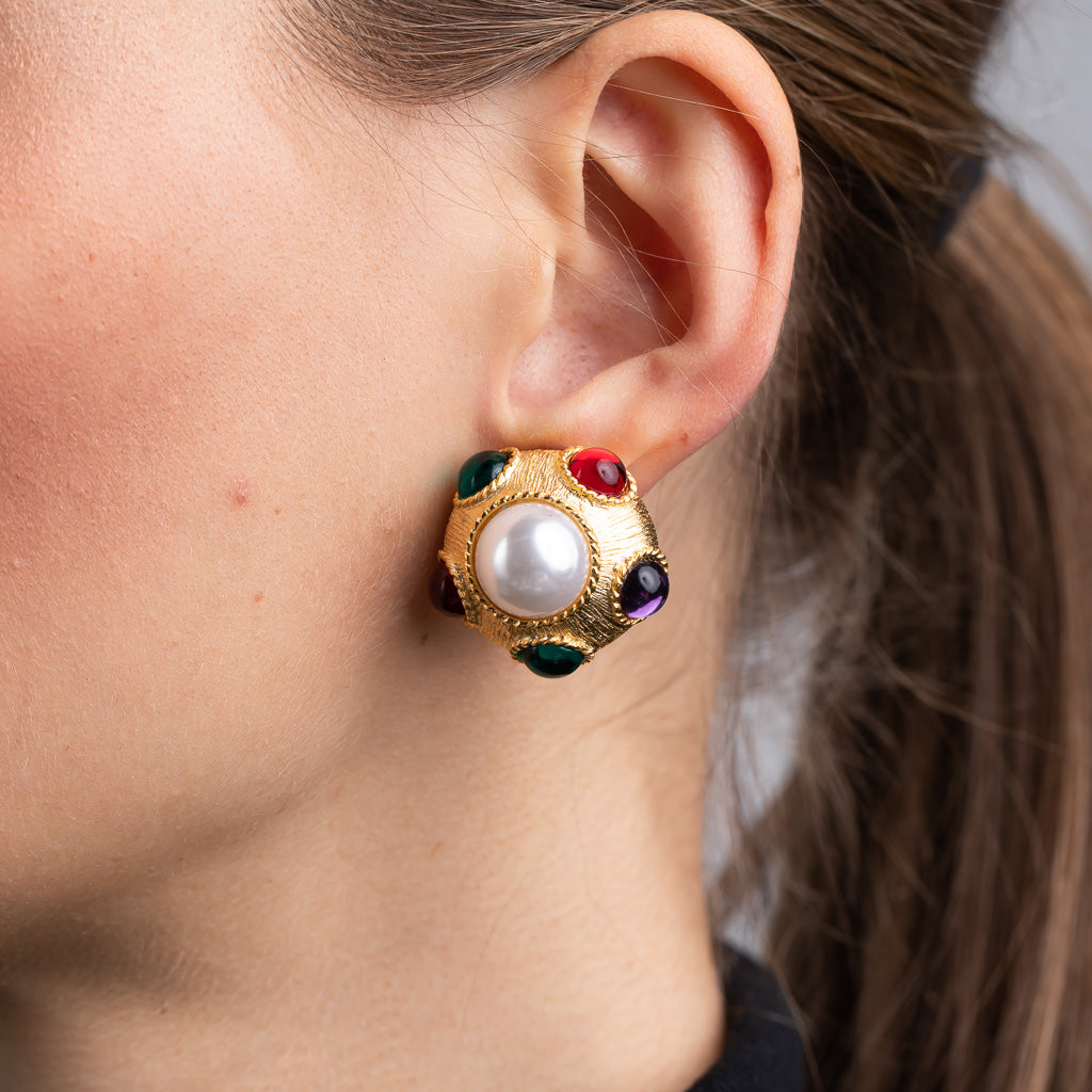 Satin Gold with Multi Color Gems and Pearl Center Clip Earrings