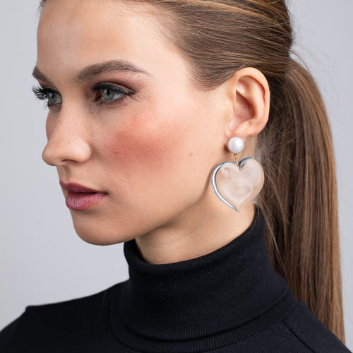 Allure/August 2019 - Pearl Top and Clear Heart Drop Pierced Earrings
