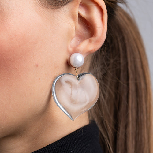 Pearl Top and Clear Heart Drop Pierced Earrings