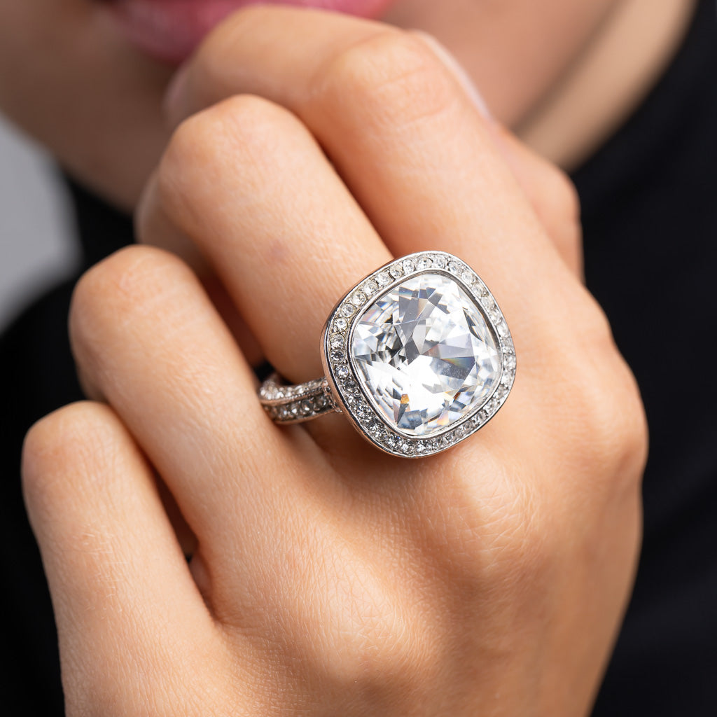 Silver and Crystal Center Stone Ring