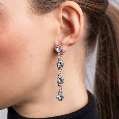 Rhodium and Crystal Drop Clip Earrings