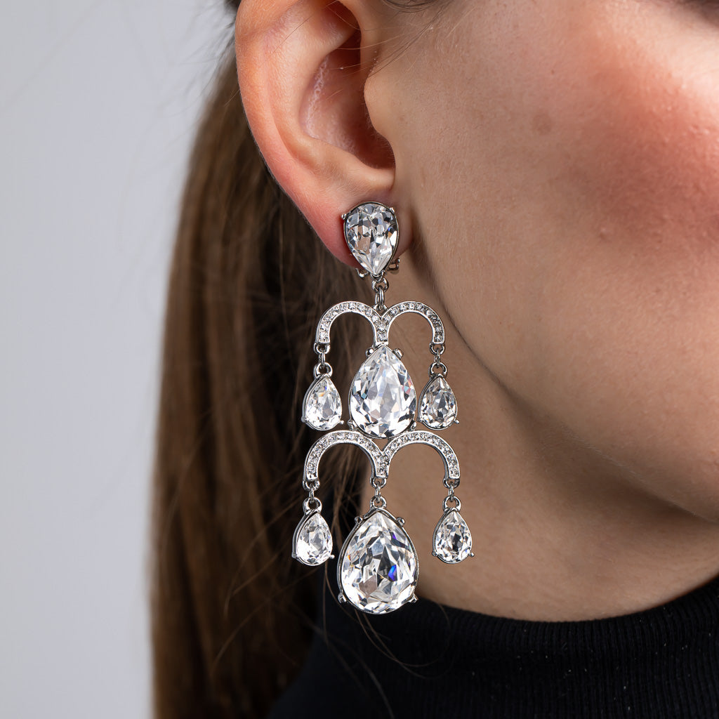 Silver and Crystal 2 Tier Chandelier Drop Clip Earrings