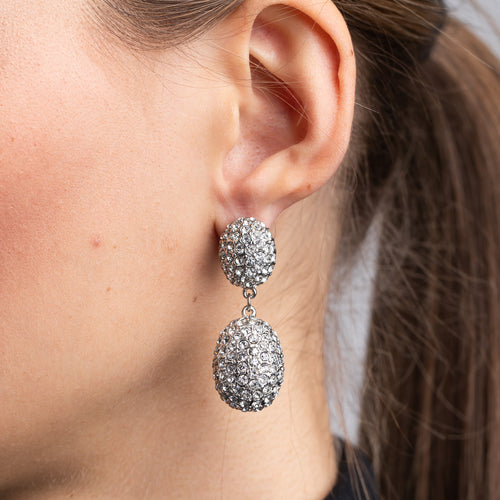 Rhodium and Rhinestone Drop Pierced Earrings