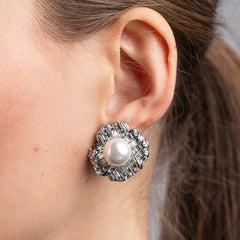 Silver and Crystal Baguette with Pearl Center Flower Clip Earrings