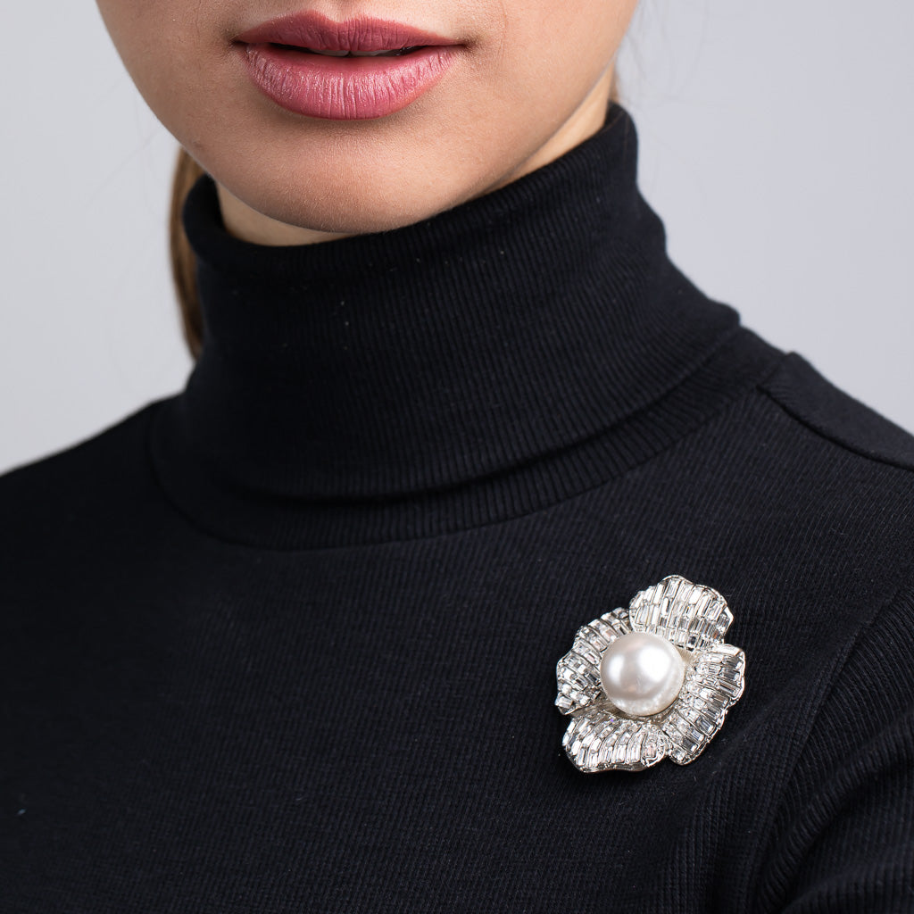 Silver and Crystal Baguette Flower Pin