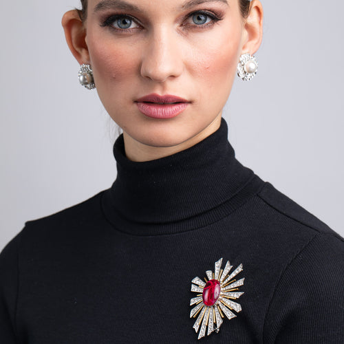 Vogue Italia/March 2019 - Crystal Sunburst with Ruby Center Pin