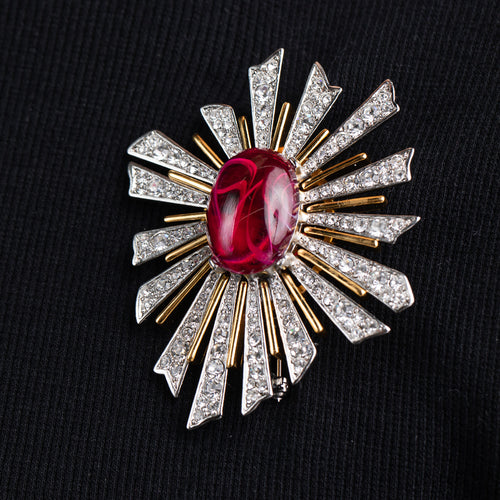 Crystal Sunburst with Ruby Center Pin