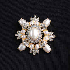 Two Tone Crystals and Pearl Cluster Pin