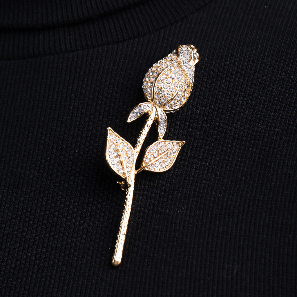 Two Tone Leaves Rose Pin