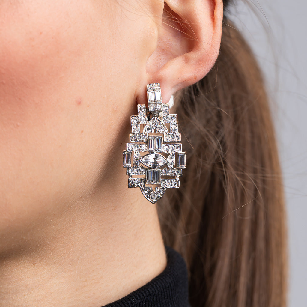 Silver and Crystal Deco Clip Earrings