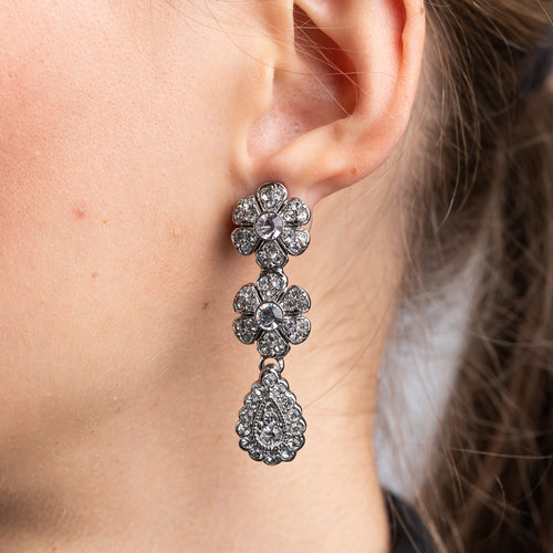 Antique SIlver and Crystal Double Flower Drop Pierced Earrings