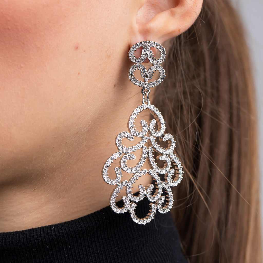 Rhodium and Crystal Pave Filigree Pierced Earrings
