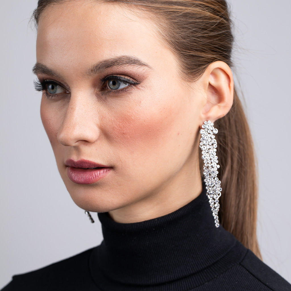 SIlver and Crystal Waterfall Pierced Earrings
