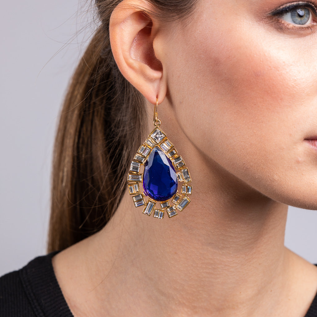 Crystal and Sapphire Center Teardrop Pierced Earrings