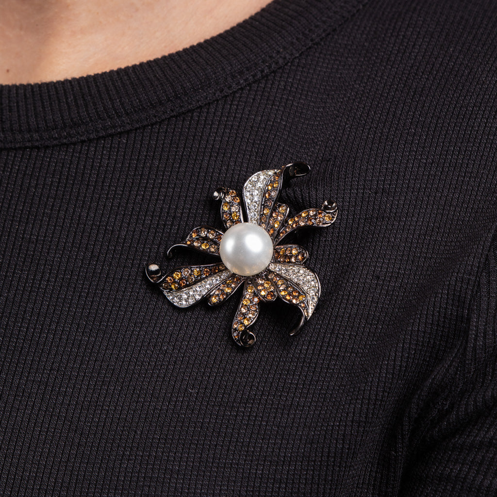 Multi Topaz Rhinestones with White Pearl Flower Pin