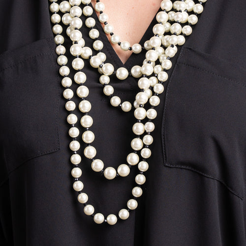 5 Row Pearl Necklace with Jet Beads
