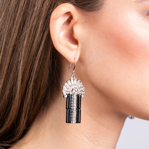 Black and Crystal Art Deco Pierced Earrings