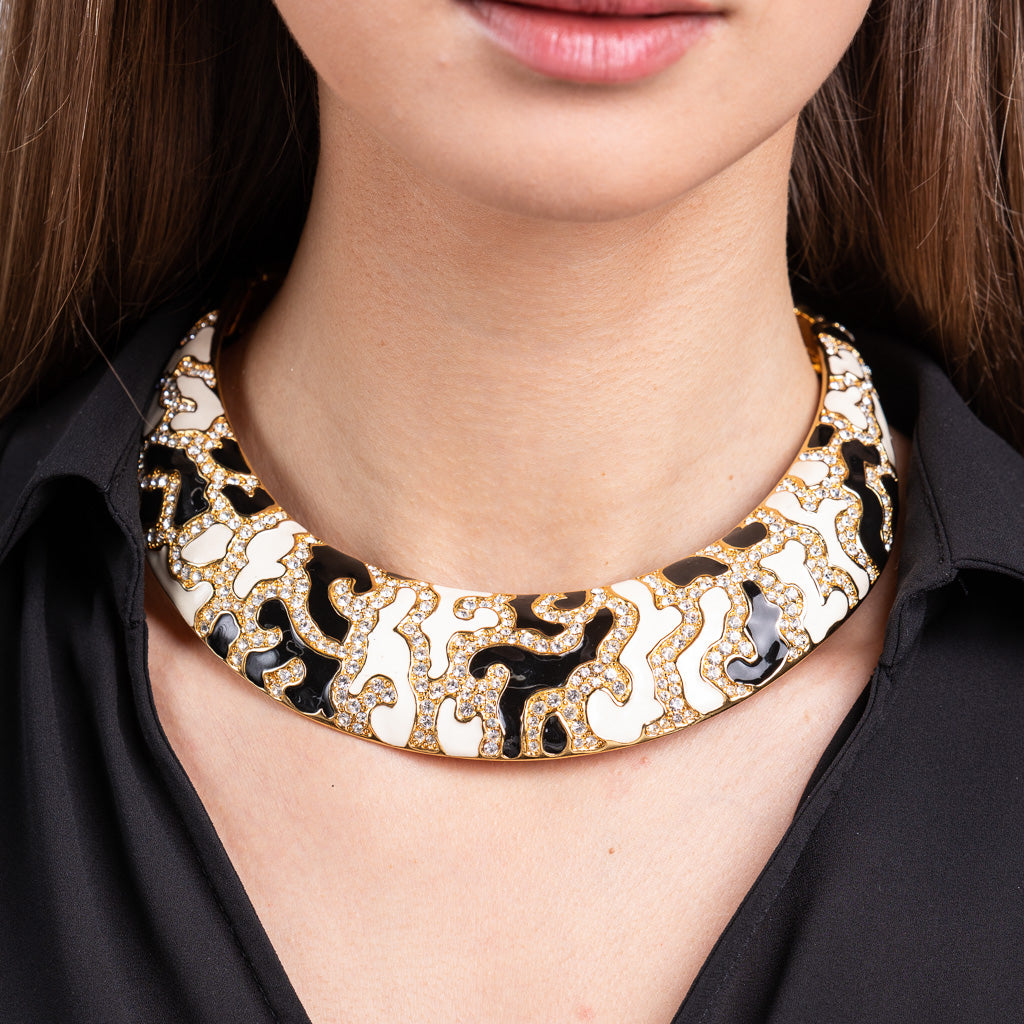 Black and White Enamel with Crystal Bib Necklace
