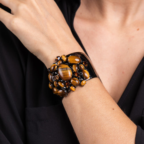 Tiger Eye Cabochons on Gun Metal Cuff Bracelet