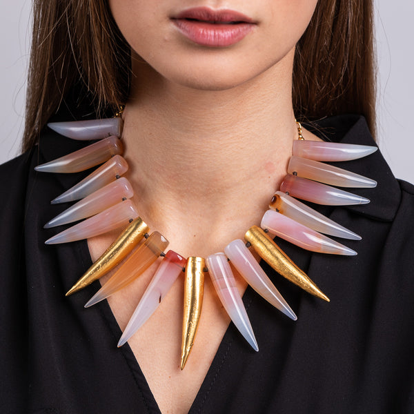 Rose and Gold Horn Necklace