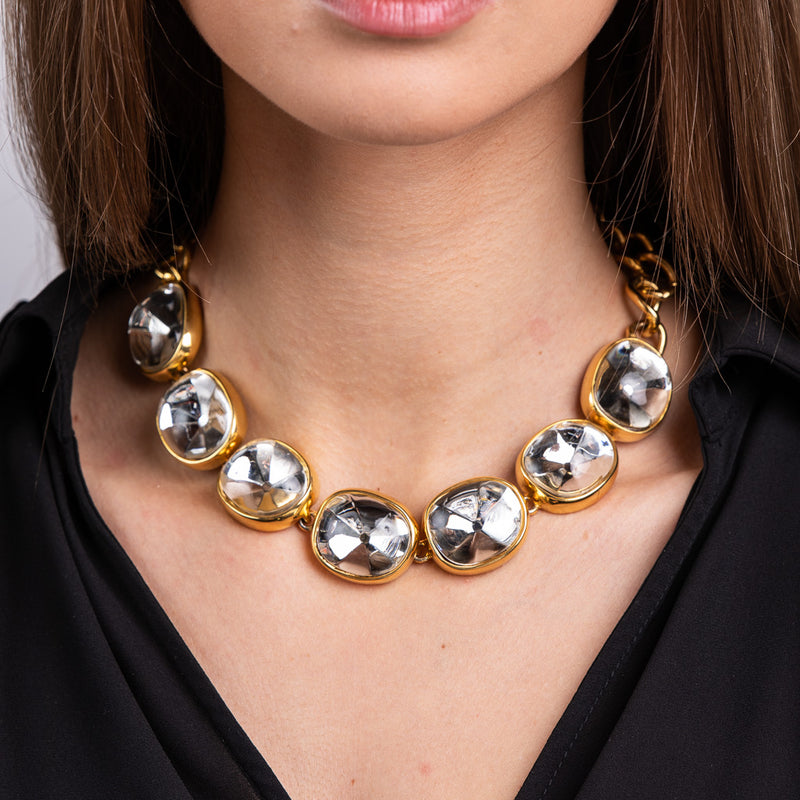 Clear Faceted Stones on Gold Necklace