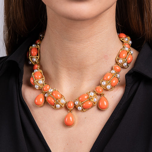 Coral Cabochon and Pearl Necklace