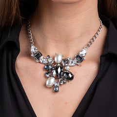 Hematite, Smokey and Clear Faceted Stones, and Pearl Pendant Necklace